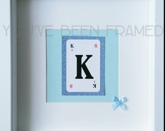 Personalised blue glitter initial box frame