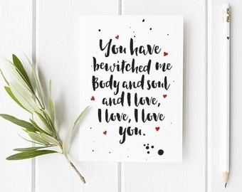 Pride and Prejudice Valentines Day Card with Literary Quote / Pride and Prejudice Quote / Literary Quotes / Jane Austen / Valentines card