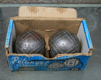 French Vintage Petanque boules/bowling balls. Set of two boxed steel balls. Popular French game balls. Vintage French sport game