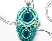 Bohemian Pendant, Teal Necklace, Boho Chic Jewelry, Gift For Woman, Glamour Pendant, Emboidered Jewelry, Handmade Gift For Her, Oriental