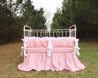 Handmade Bedding - Baby Bedding - Pink Crib Bedding - White Crib Bedding - Pink Crib Sheet - Farmhouse Crib Bedding - Cotton Nursery Bedding