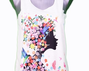 woman face graphic tank top - illustration / / graphic girl face tank top