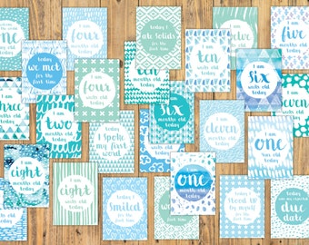 Milestones Cards - Baby's First Year (50 card pack digital file) - Ocean Adventure Colour Palette