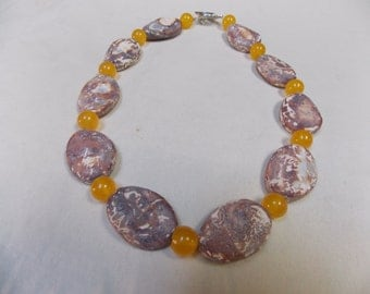 Beaded necklace,one of a kind, hand made Lava