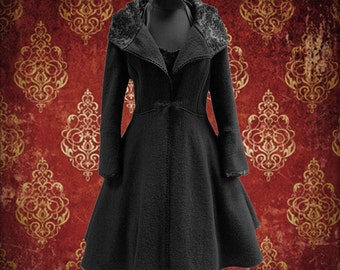 winter coat wool 50s style vintage look in black