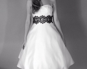 Wedding dress with removable black lace belt
