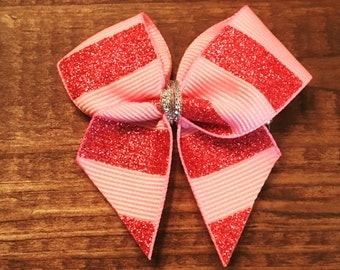Small Sparkly Pink Bow Clip