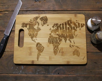 Personalized Cutting Board, Travel Trailer Decor, Travel Gifts, World Map, World Traveler, Housewarming Gift, Moving Gift, Going Away Gift