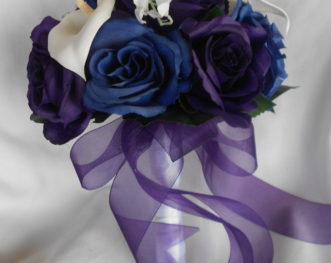 Brides maids set of 4 bouquet for wedding royal purple and royal blue. 4 Free boutonnieres