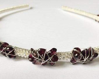 Silver coloured wire wrapped Garnet beaded headband, hair accessories, January birthstone