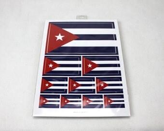 Cuba Flag Weatherproof Sticker Sheet / 10 Flag Stickers Various Sizes