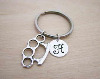 Brass Knuckles Charm - Fighter Charm - Personalized Key chain  Initial Key Chain - Custom Key Chain - Personalized Gift - Gift for Him / Her