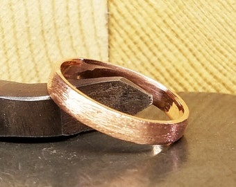 4mm Wide Brushed Women's Wedding Band in 100% Eco-Friendly Recycled 14K Rose Gold with Free Sizing 4-12