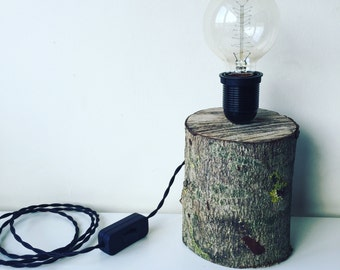Wooden Log Up-cycled Eco Table Lamp Edison Bulb