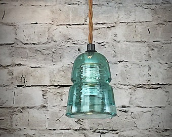 Aqua Blue Insulator Pendant Light - LED Insulator Light - Vintage Bee Hive Glass Insulator Pendant Fixture