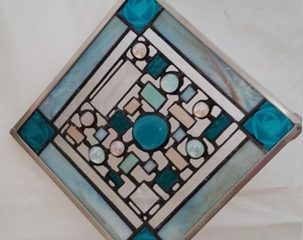 Aqua - teal roses stained glass hanging