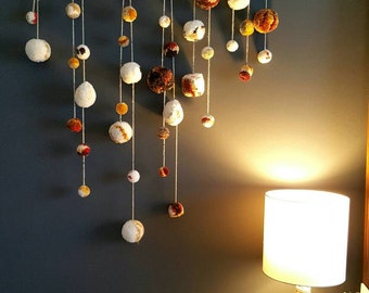 Designer Pompom Wall Hanging 》Pompom Garland 》Fiber Wall Hanging