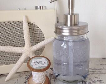 Kilner mason jar soap dispenser with silver metal lid