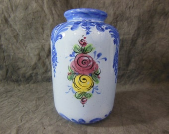 Vestal Alcobaca Portugal Pottery Vase Hand Painted