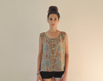 80s 90s Vintage Sleeveless Abstract Print Colorful Tank Top Blouse