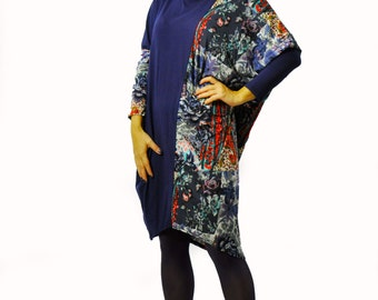 Long maxi tunic/Casual sleeves tunic/Oversize tunic/Blue asymmetrical tunic/Hooded tunic/Dress with hood/Lycra maxi handmade tunic/T1370
