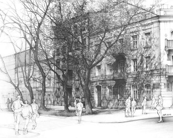 original architecture drawing by katarzyna kmiecik urban sketch plein air drawing tree shadow - Architecture Drawing Of Trees