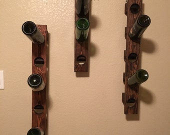 Riddling Wine Rack Rustic Wood 5 Bottles