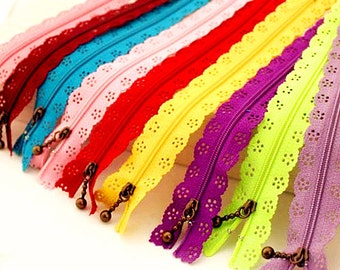 5pcs Colorful Metal Zippers Scallop Lace Short Zipper 8 inches Clothes Purse Bags zippers Z01