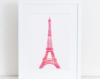 Eiffel tower art print A4 in Pink, watercolor 8.5 X 11 inches instant digital download gift for, children room, nursery, bedroom decor