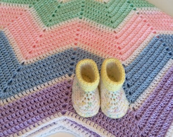Crochet Baby Blanket and Cuffed Baby Booties