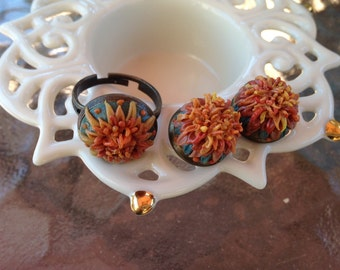 Two Pairs of Stud Earrings & Ring, Aster earrings, Autumn Fall Jewelry, Trend, Polymer Clay Filigree