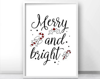 Christmas Print Merry And Bright, Printable Christmas Decor, Instant Download Christmas Printables, Holiday Print, Black And White Christmas