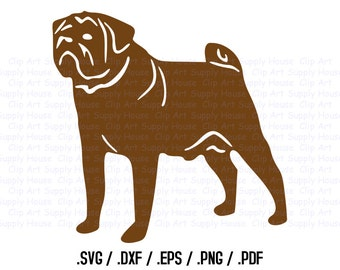 Pug Dog SVG, Puppy Dog Clipart, Veterinary Office Art, Animal SVG File for Vinyl Cutter, Screen Printing, Silhouette Die Cut Machine - CA105
