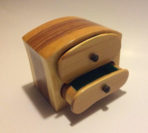 Pine Band Saw Box Jewelry Box Treasure Box Two Drawer