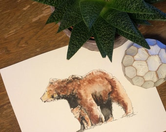 Bear Watercolor and Ink