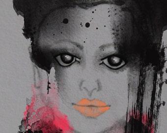 Stolen Beauty - Art Print from original pencil Fashion Illustration, digitally enhanced