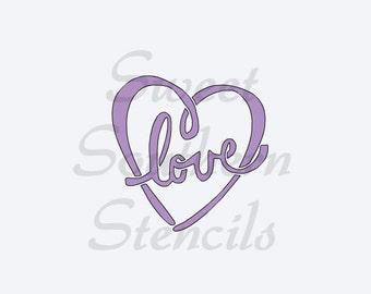 Love in Heart Stencil