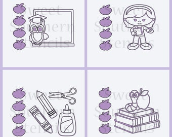 Back to School PYO Cookie Stencils (4 separate stencils)
