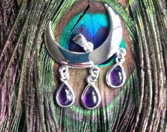 Wiccan moon pendant with amethyst drops