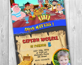Jake and the Never Land Pirates Party Invitation - Birthday Invitation - Pirates Party  - with Photo - ONLY FILE