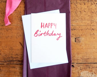 SALE * Red Watercolour Happy Birthday Card - Greetings Card, Blank Card, Simple Birthday Card - Red Watercolour (watercolor) Paint Print