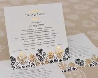 Black&Gold Wedding Invitations + envelopes: Set of 10 pieces!