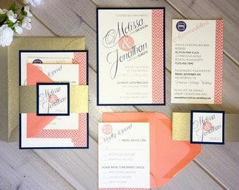 navy coral and gold wedding invitations navy and coral, Wedding invitations