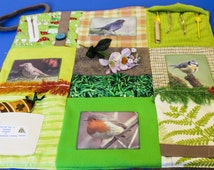 Alzheimers and Memories - Garden Birds Fidget Blanket - Feathered Friends Twiddle Quilt - Memory Blanket  ~ Ideal for use with wheelchair.
