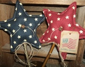 Primitive Pair (2) Patriotic Americana STARS Homespun Pokes Ornies Folk Art