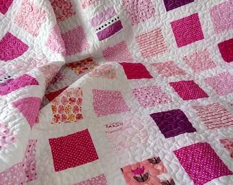 Pink Quilt / Girl Quilt / Twin Quilt / Throw Quilt / Bed Quilt / Custom Quilt / Modern Quilt