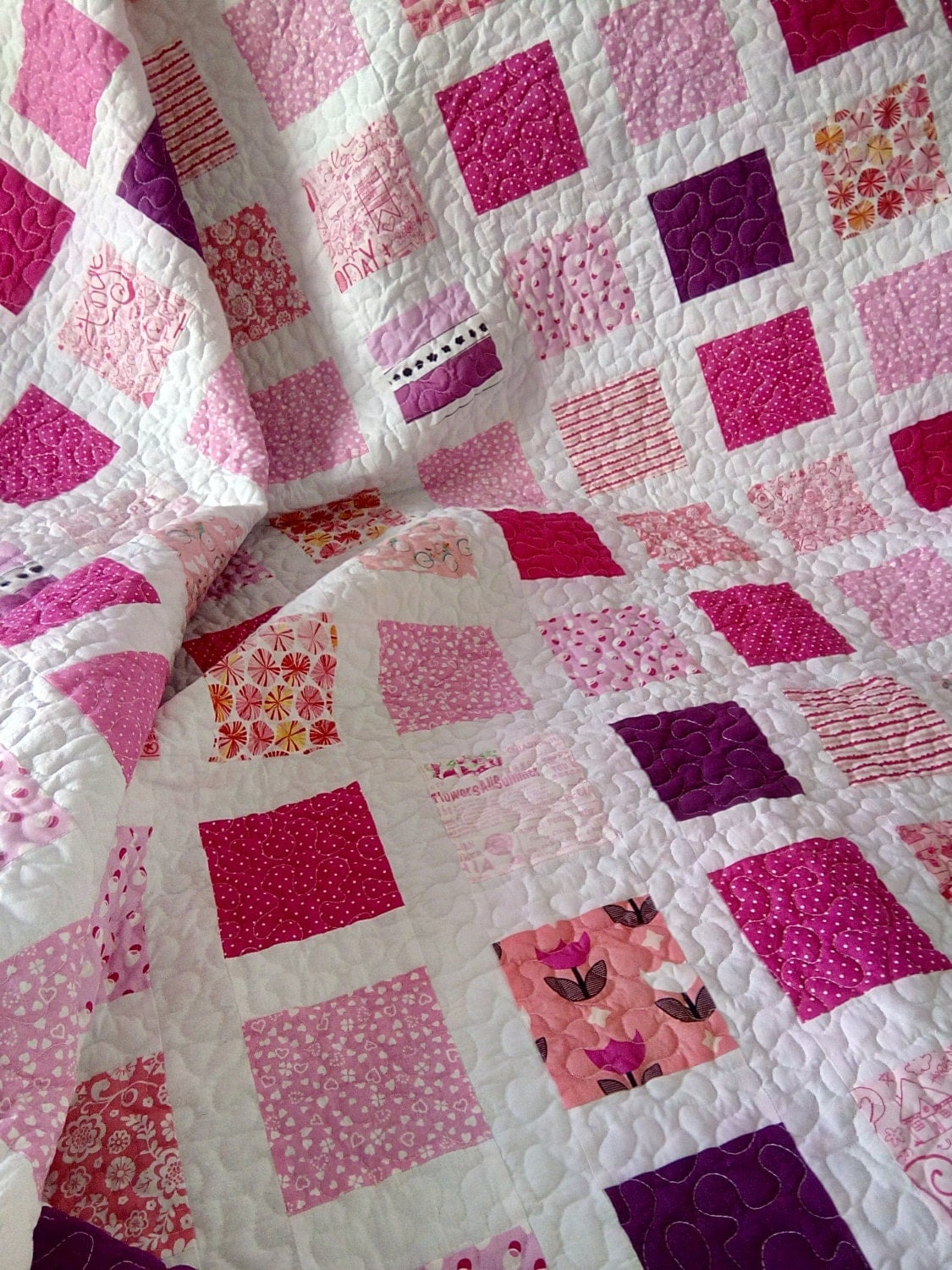 Twin Quilt Patterns Free : Pink Quilt / Girl Quilt / Twin Quilt / Throw Quilt / Bed Quilt