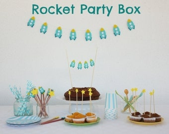 Rocket Party In A Box Birthday Party Package Space Theme Party Baby Shower  Party Favors Cake
