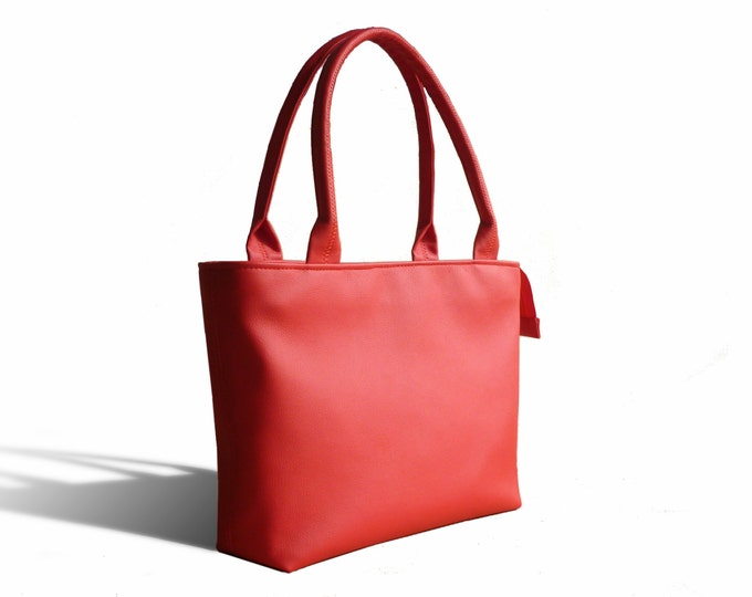 Red Shoulder Bag, Vegan Leather Bag, Large Tote, Red Handbag, Shoulder Bag Woman