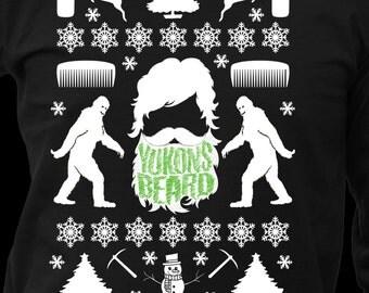 Ugly Christmas Sweater Long Sleeve Shirt, Yukons Beard, Funny Gift for Him
